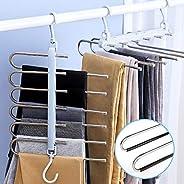 衣架 褲子收納 西裝衣架 防滑 不銹鋼 多衣架 防皺 衣柜收納 節省空間 6段 2根套裝 (藍色(2個套裝))