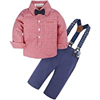 BIG ELEPHANT Baby Boys' 3 Piece Gentle Pants Clothing Set with Bowtie Red H03E08