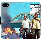 Grand Theft Auto 5 Leather Flip Wallet Cell Phone Case Credit Card Holder For iphone 7 DWFP498