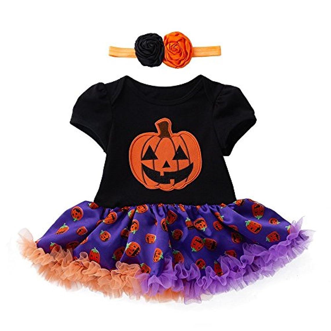 知覚盆マスタードBHKK 幼児の女の子かわいいパンプキンの弓のドレス+ヘッドバンドハロウィーンの装飾の服 3ヶ月 - 18ヶ月 イエロー2 3ヶ月