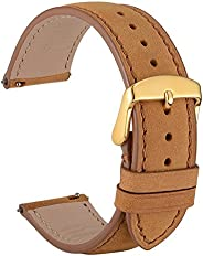 WOCCI Quick Release Watch Band 18mm 20mm 22mm, Suede Vintage Leather Strap with Gold Buckle