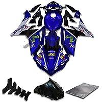9FastMoto yamaha ヤマハ 2007 2008 YZF-1000 R1 07 08 YZF 1000 R1 用フェアリング オートバイフェアリングキット ABS 射出成形セット スポーツバイク カウル パネル (ブルー) Y0839