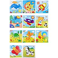 Remeehiベビーキッズ漫画動物3dパズル赤ちゃん教育キッズ子供知的Developmental木製玩具パズルギフトランダム5個