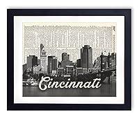 Cincinnati Skyline With Script Name Dictionary Art Print 8x10 [並行輸入品]