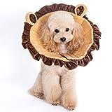 marushin かわいい ソフトエリザベスカラー やわらかい 布製 着けたまま寝れます 犬 猫 傷舐め 防止 ひっかき エリザベスカラー 人気 (L, らいおんブラウン)