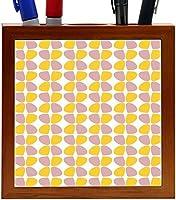 Rikki Knight Petals Leaves - Rosa Beige - Yellows - Fall Winter Design 5-Inch Tile Wooden Tile Pen Holder (RK-PH43831) [並行輸入品]