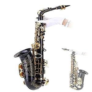 Andoer BE アルトサックス サックス 黄銅漆ゴールド E フラットサックス 82Zキー型 木管楽器 クリーニングブラシ/布/手袋/ルクグリース/ストラップ/パッド入りケース付き 吹奏楽 練習用 本番にも 使い勝手はあなた次第! 【並行輸入品】