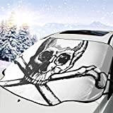 車のフロントガラスの日よけ頭蓋骨とクロス骨サンバイザー、フロントガラスのサンバイザー、UVカットフロントガラスの日よけ(70 x 130 cm)