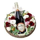翌日配達お花屋さん ワインと花 スパークリングワイン プリマ・ペルラ 赤バラアレンジ