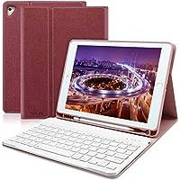 ipad 9.7 キーボードカバー Apple pencil 収納 ペンシルホルダー付き ワイヤレスキーボードケース 手帳型 ビジネスカバー 一体型 (レッド)