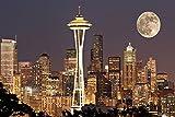 Lights On In Seattle Full Moonアート印刷、ポスターまたはキャンバス 54 x 36