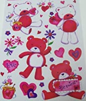 ValentineまたはばねWindow Cling ~ Love Bears ( 17 Clings、1シート)