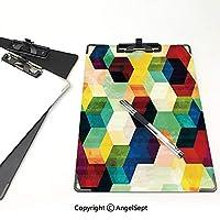 個性的 キングジム:クリップボード カラー A4判タテ型 ヴィンテージ アイデア多機能メニュー 菱形パターングランジ効果六角形パターンカラフルな幾何学的なモザイクアートワーク多色