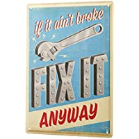 Tin Sign ブリキ看板 Nostalgic Motif If it not broke fix it anyway wrench