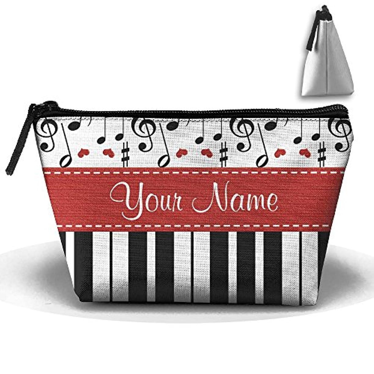 トランザクションサポートフルーティーErmiCO ポーチ 化粧ポーチ メイクポーチ 名前入りな音楽ノートのピアノ 台形ポーチ 小物入れ マチ幅広め ポーチ 携帯 収納 アクセサリー入れ レディース