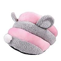 Funtoget キャットベッド、柔らかい洗える、高級ぬいぐるみ、滑り止め、快適、4個かわいいスリッパ形ペット犬小屋猫ベッドウサギの耳洞窟の家マット付きおもちゃボール