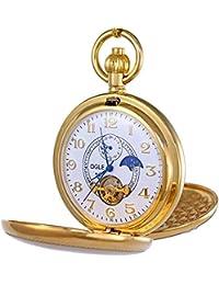 OGLE ヴィンテージ銅ダブルカバー、自動機械式懐中時計を巻トゥールビヨンフェーズムーンペンダントネックレスチェーンフォブセルフ