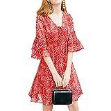 BANKIKU (バンキク) 森ガール レディース かわいい ワンピース 花柄 タッセル フレア 袖 修身 柔らかい シフォン 女の子 ワンピ 14柄 パーティー 普段着 洋服
