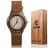 Cucolレディースウォールナット木製牛革レザーストラップウォッチ木製ケースアナログクォーツ腕時計ギフトボックス