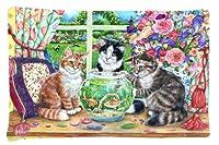 Caroline 's Treasures cdco0325pillowcase Cats Just Looking In The Fish Bowlファブリック枕カバー、標準、マルチカラー