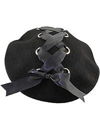 ミナコライフレディース リボン付き ベレー帽 シンプル無地 ブラックレースアップ お姫様風 フェルト製 帽子 キャップ