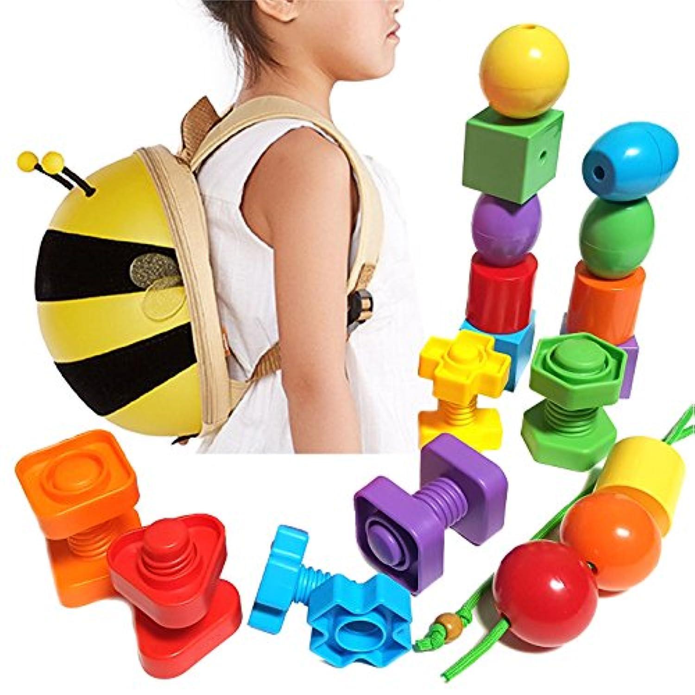 子供用動物バックパックwith教育玩具セット – プライマリLacing Beads /ジャンボナット&ボルト。Learn色、形状、並べ替え、Stacking、モータースキルand More ( 24 pcセット+幼児用旅行バックパック)