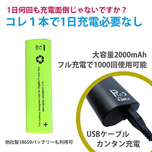 『Ploomtech 互換 P Box Mini 大容量バッテリーセット 一度の充電で1000回吸える (黒)』の2枚目の画像