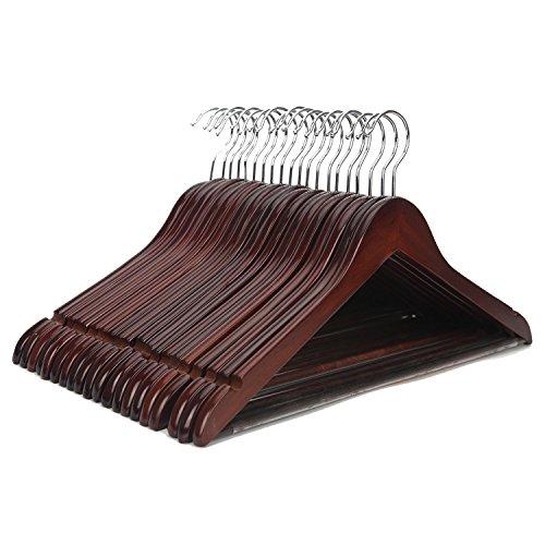 StorageWorks 木製ハンガー スーツ・ジャケット用 肩幅44.5cm×肩厚1.2cm×高さ22.5cm 20本セット スラックス用バー付 アンティークブラウン 手作り スタンダードな木製ハンガー