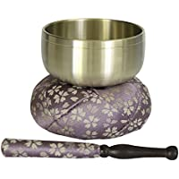 国産おりんセット おリン+リン棒+布団 2.3寸(直径7.6cm) 薄紫