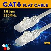 CAT6 フラットLANケーブル 50M 50mホワイト LAN-FL6-50WH