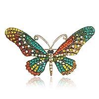 Sevenfly 女性のブローチピン昆虫蝶クリスタルラインストーンブローチガールギフト、黄色