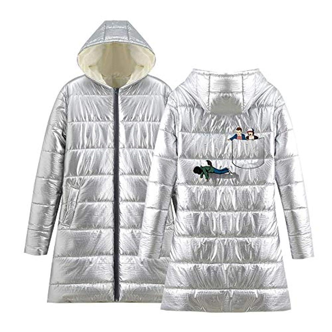 防水気取らない体操超軽量暖かいミディアムジャケットと長いセクション長袖印刷ヨーロッパやアメリカのトレンドダウンジャケット女性と男性,銀,M