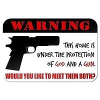 """神の家の下で保護銃 - あなたはそれらの両方に会いたいと思います 9"""" x 6"""" 私にtal 符号"""