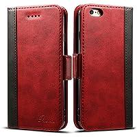 iphone6s ケース 手帳型 iphone6ケース 手帳 Rssviss 高級PUレザー 財布型 アイフォン6sケース カバー カード収納 マグネット スタンド機能 W3 レッド【4.7inch】
