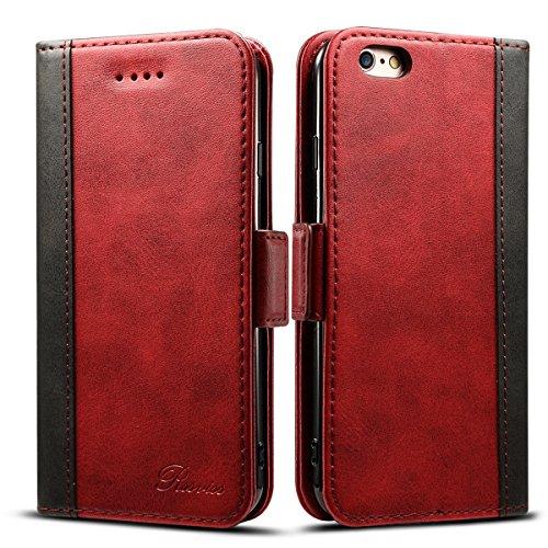 iphone6s ケース 手帳型 iphone6ケース 手帳 Rssviss 高級PUレザー 財布型 アイフォン6sケース カバー カード収納 マグネット スタンド機能 W3 レッド(iPhone6&6s対応)4.7inch