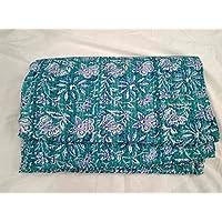 インドカーペットテキスタイルインディアン手作りフルーツ印刷コットンKanthaクイーンサイズQuit Throw BlanketベッドスプレッドGudari美しい花柄プリント
