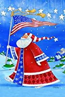 Toland Home Garden Patriotic Santa 12.5 x 18 Inch Decorative Colorful Patriotic Winter Christmas Garden Flag [並行輸入品]