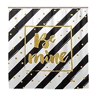 LIASDIVA 防水 シャワーカーテン、幸せなバレンタインデーゴールドのきらびやかな手、高級感あり 180x180cm丈 軽量 バスカーテン パーソナライズされたファッションパターン芸術の装飾、カーテンフックC型 付き