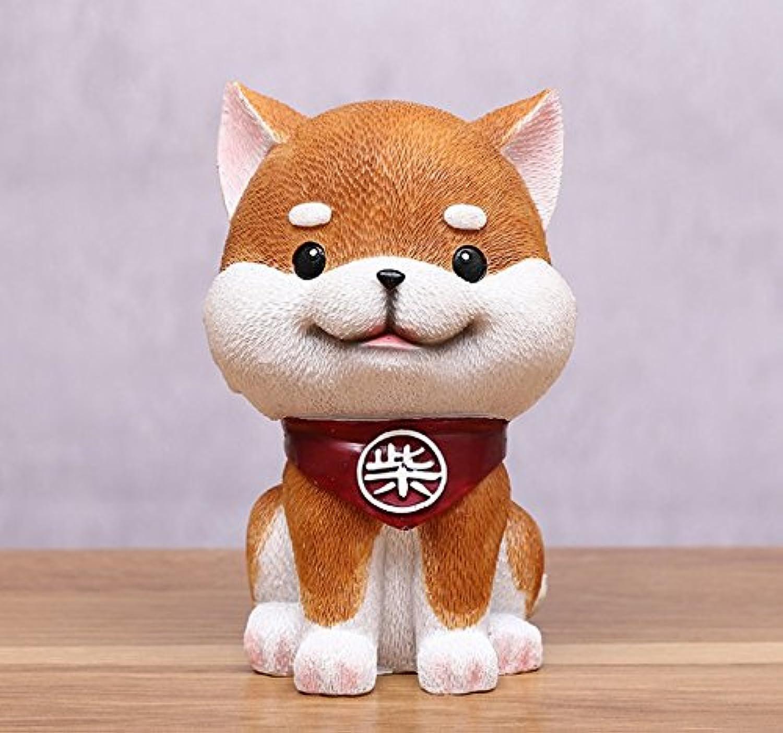 マネー バンク 漫画芝犬ピギーバンク樹脂工芸家の装飾(茶色)