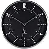 アイリスプラザ デザイン 掛け時計 電波時計 アルミ ブラック 28cm OTI-07