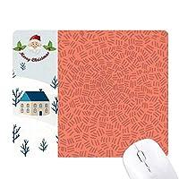 赤の背景パターンショートストライプ サンタクロース家屋ゴムのマウスパッド