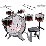 CUHAWUDBA 1セット キッズ子供ドラムキット ミュージカルバンド 椅子シンバル子供キッズ玩具トーイギフト ブラックカラー