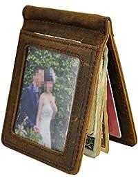Le'aokuu メンズ(男性)向け財布 本革材料を採用する カードホルダ写真入りポケットお金を納めるスリムなスマートな財布・ウオレット