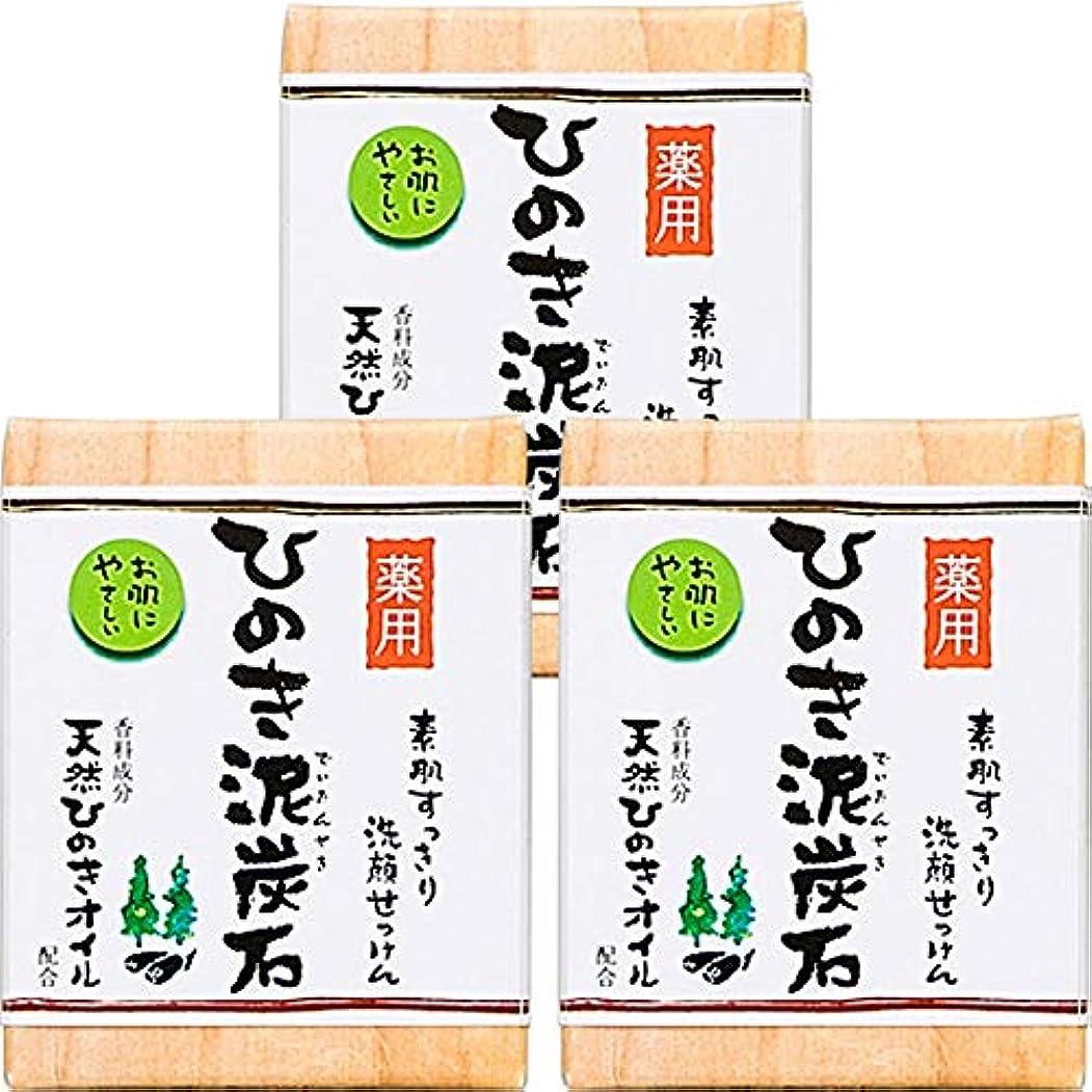 抵抗力があるブル禁じる薬用 ひのき泥炭石 (75g×3個) 洗顔 石けん [天然ひのきオイル配合] 肌荒れ防止