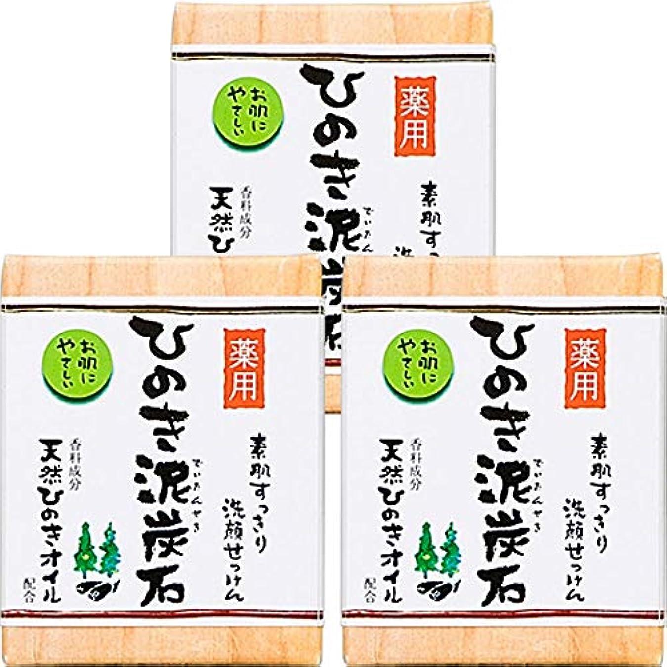 雄大な故国用量薬用 ひのき泥炭石 (75g×3個) 洗顔 石けん [天然ひのきオイル配合] 肌荒れ防止