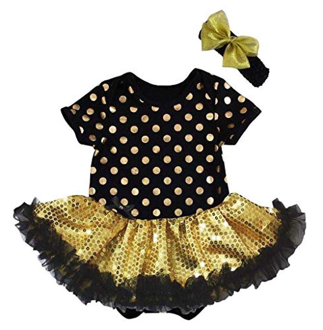プロテスタントワイプあからさま[キッズコーナー] ハロウィンの子供チュチュ、ベビー服、女の子のワンピースドレス ゴールドのドットドレス Nb-18m (ゴールド, Large) [並行輸入品]