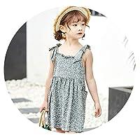 2019年夏の新しい綿のノースリーブのスリングの子供のドレスの弓プリントガールドレススカート,灰色,120cm