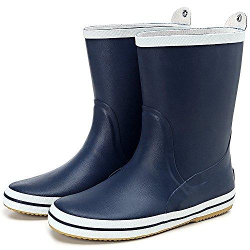 最新モデル長靴 - Hellozebra ミドルカットメンズレインブーツ - 高品質の天然ゴム製,軽量,快適,耐滑 - 魚釣り,農作業,水仕事などアウトドアの必要品 25.0cm ダークブルー