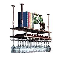 ウォールマウントワインラック - シンプルスタイルアイアンぶら下げワイングラスラック バー、レストラン、キッチンの天井装飾棚/ボトルホルダーガラスラック/フローティングワイン棚
