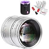 7artisans APS-C 55mm F1.4 Manual Fixed Lens for Fuji X Mount Cameras X-A1 X-A10 X-A2 X-A3 X-at X-M1 XM2 X-T1 X-T10 X-T2 X-T20 X-Pro1 X-Pro2 X-E1 X-E2 X-E2s, Silver